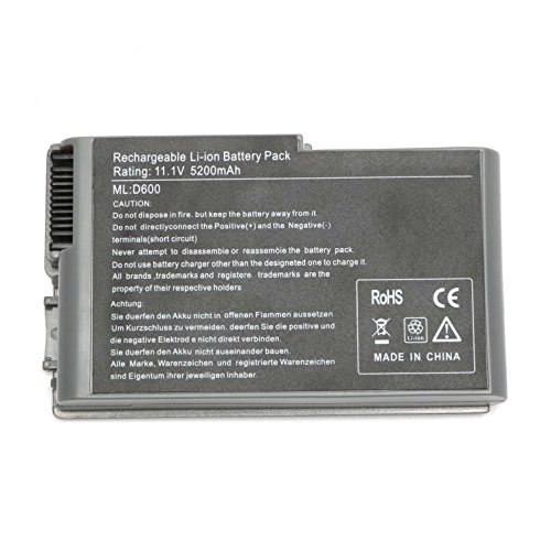 New Replacement battery for Dell Latitude D500 D505 D510 D520 D530 D600 D610 PP05L PP11L d605 1X793 U1544[Li-Lion 6Cell 5200mah]--SIKER (Battery Latitude D610 Dell)