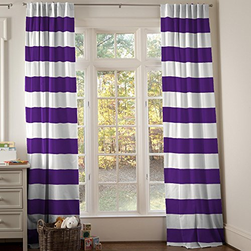 Carousel Designs Purple Horizontal Stripe Drape Panel 96-Inch Length Standard Lining 42-Inch Width by Carousel Designs