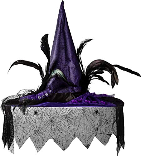 AMSCAN Purple Witch Hat Deluxe Halloween Costume Accessories, One Size