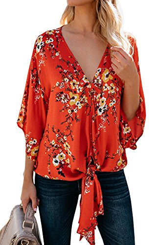 Womens Floral Oversized Tie Front Top Short Sleeve V Neck Chiffon Blouses Summer Shirts Red