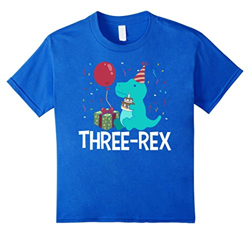 Kids Three-Rex T-Rex Birthday Gift T-Shirt For 3 Year Old...