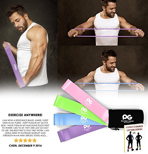 Large Product Image of Physix Gear Sport Resistance Loop Bands Set 4 - Best Home Fitness Exercise Bands for Legs, Crossfit Workout, Physical Therapy, Pilates, Yoga & Rehab - Improve Mobility and Strength (Purp Grn Blu Pnk)