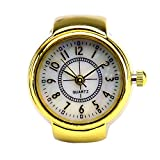 Fashion Gold Tone Quartz Finger Ring Watch with Gift Box