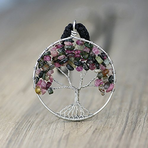 NewDreamWorld Christmas Tree of Life Necklace-Multi Color Tourmaline Tree Pendant, Silver Wire Wrapped Tree of Life, Pink, Green, Black Gemst -
