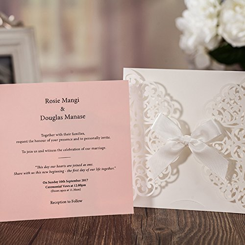 Hollow White Lace Flora Flowers Wedding Invitations Elegant Laser Cut Ribbon Bowknot Party Greeting Paper Cards CW6177 (100) by Wishmade (Image #4)