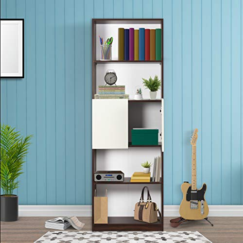 Trevi Eden Engineered Wood Semi Open Book Shelf   Walnut  amp; White