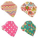 Baby Bandana Drool Bibs, Super Absorbent For Drooling And Teething Baby Girls, Fits Newborn To Toddler, Award Winning, 4 Pack (Ethnic Inspirations) By Zippy.