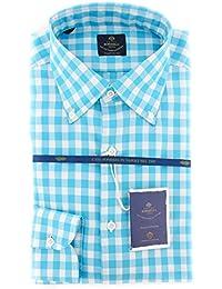 New Luigi Borrelli Light Blue Check Extra Slim Shirt