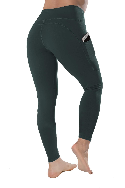 QYQ High Waisted Leggings with Pockets - Workout Leggings for Women Stretch Power Flex Yoga Pants - Full&Capri (Medium, Spruce) by QYQ