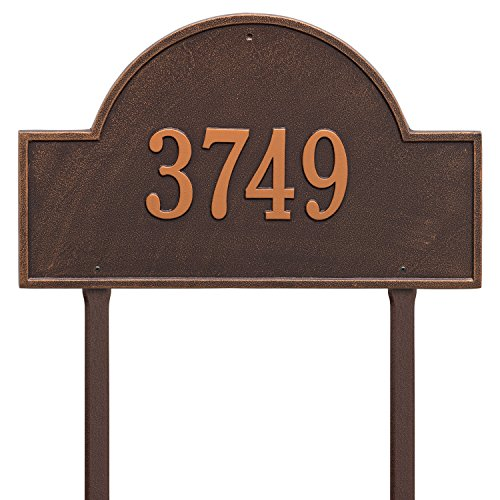 Whitehall Products Arch Marker Estate Antique Copper Lawn 1-Line Address Plaque (Marker Arch Whitehall Lawn)