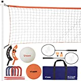 Triumph Five Outdoor Games Combo Set Includes Badminton, Volleyball, Horseshoes, Disc Golf, and Jai Alai