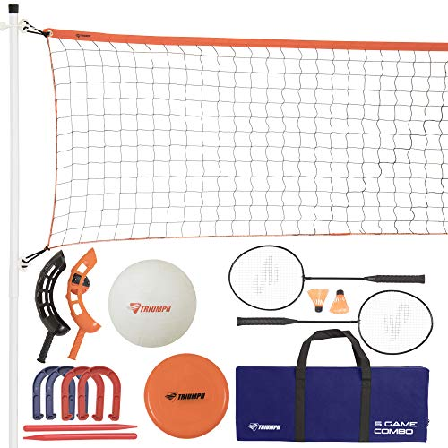 (Triumph Five Outdoor Games Combo Set Includes Badminton, Volleyball, Horseshoes, Disc Golf, and Jai Alai)