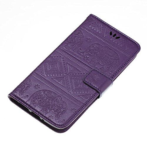 Funda Moto G5s, Carcasa Moto G6, CaseLover Piel Libro Cuero Elefante Impresión Carcasa para Motorola Moto G5s / G6 con TPU Silicona Case Cover Interna Suave Flip Folio Tapa y Cartera Cierre Magnético, Púrpura