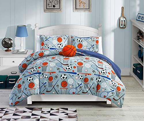 4-Piece Full/Queen Size Sports Bedding with Matching Basketball Plush Pillow. Soft Microfiber Teen Bedding for Boys Bedroom in Orange, Blue, White and Black
