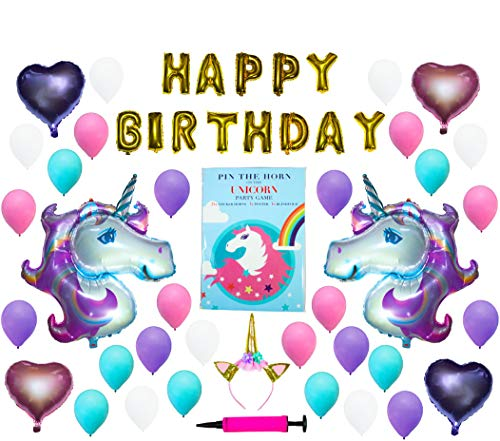 Unicorn Party Supplies with Game - Unicorn Party Decorations, Unicorn Birthday Party Supplies, Unicorn Party Supplies for Girls, Unicorn Decorations
