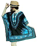 Ornatcha Pha Fai Dashiki DressElastics around the waist (Black and Light Blue)
