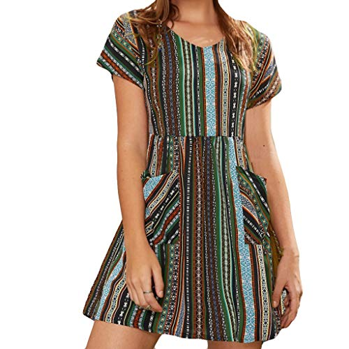 Answerl Women's Summer Short Sleeve Casual Fit Bohemian Floral Tunic Dresses High Waist Line with Pocket Army Green