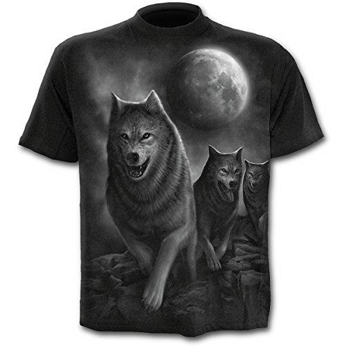 Wolfpack Uomini Nera Degli Di M Gotico Fantasia Lupi Maglietta Metallo Spirale 61wqx6rnSA
