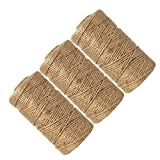 Newtrend Nature Jute Twine for DIY Craft, Packing, Decoration and Gardening,3Ply Durable String and Eco-Friendly (3pcs)