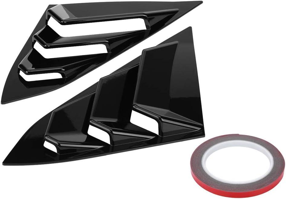 Pair Window Louver Vent Cover Casing fit Honda Civic Sedan 2016-2018 Gloss Black