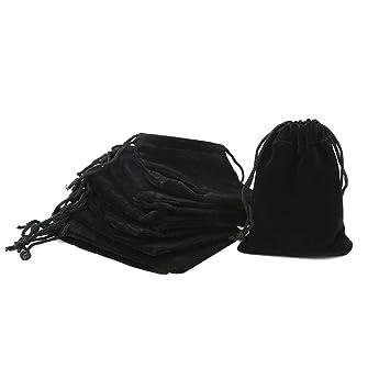 Shintop - 10 bolsas de terciopelo con cordón, bolsas de terciopelo para joyería, envoltorio de regalo, color negro, tamaño 9.8 x 7.1 x 0.6 (cm)