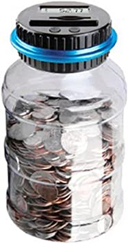 Dxlta Caja de ahorro de dinero para contador de monedas, tamaño ...