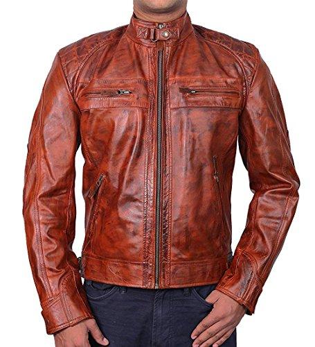 Diamond Classic Distressed Brown Genuine Leather Jacket Motorcycle Cafe Racer Biker (XXXL) (Cafe Diamond Diamond Brown)