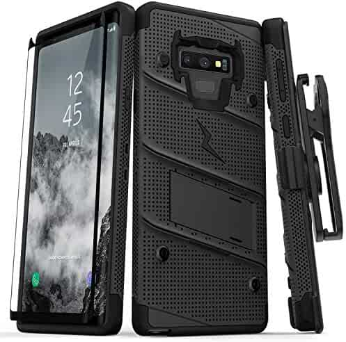 Zizo Bolt Series Galaxy Note 9 Case with Holster, Lanyard, Military Grade Drop Tested and Tempered Glass Screen Protector for Samsung Galaxy Note 9 Cover - Black/Black