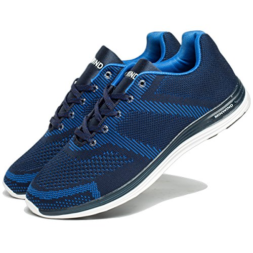MINWIND Men's Lightweight Running Shoes Knit Breathable Athletic Shoes Outdoor Sneakers (46 M EU/12 D(M) US, Blue) Review