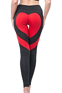 Black leggings with red line heart pattern