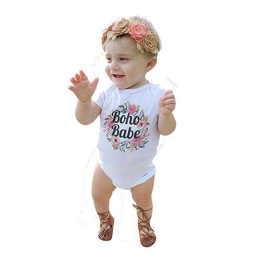 73f425de4 Amazon.com  Ecurson  Boho Babe Toddler Baby Girls Short Sleeve Print ...