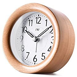 4 Wooden Alarm Clock, TXL Round Wood Digital Desk Clock Display Time/Snooze/Nightlight, Silent No Ticking Bedside Desktop Home Office Decor Alarm Clock for Kids/Seniors,Battery Operated