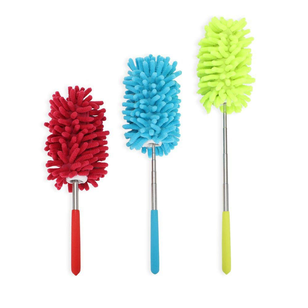 PrettyDate Microfiber Extendable Hand Dusters Washable Dusting Brush with Telescoping Pole for Cleaning Car, Computer, Air Conditioning, TV  and Else Pack of 3 CCS