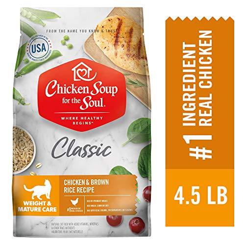 Chicken Soup for the Soul Weight & Mature Care Dry Cat Food, Chicken & Brown Rice Recipe 4.5 lb. Bag | Soy Free, Corn Free, Wheat Free | Dry Cat Food Made with Real Ingredients