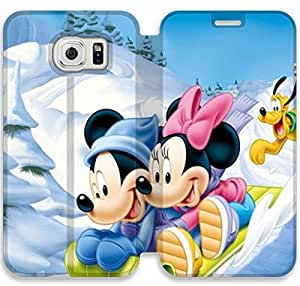 Disney Mickey Mouse Minnie Mouse-5 iPhone Samsung Galaxy S6 Leather Flip Case Protective Cover New Colorful