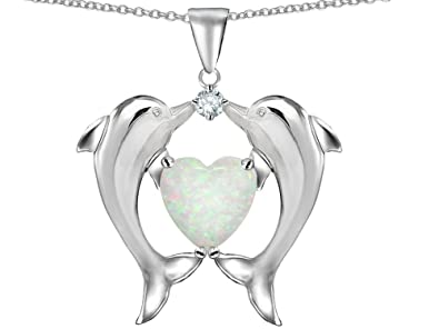 Amazon star k kissing dolphins pendant necklace heart shape 8mm star k kissing dolphins pendant necklace heart shape 8mm created opal and cubic zirconia sterling silver aloadofball Gallery