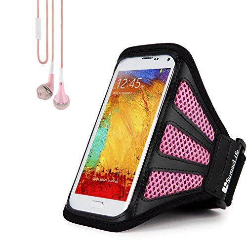 Sweat/Water Resistant Pink Mesh Workout Armband with in-Ear Stereo Earphones Suitable for LG Smartphones 5.5