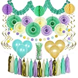 GAXCOO Mint Party Decorations, 67 Pieces Birthday Party Decoration Kit or Wedding Party Decorations Baby Shower Cream Peach Gold Garland Tassels Tissue Fans Honeycombs Swirls Balloons Straws