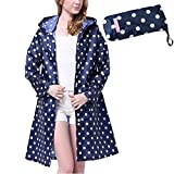 Old Tjikko Women's Waterproof Hooded Rain Coats Jacket Polka Dot Rain Coats With Pockets (NAVY)