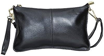 Beurlike Womens Genuine Leather Smartphone Crossbody Bag, Zipper Clutch Purse Small Wristlet With 2 Strap