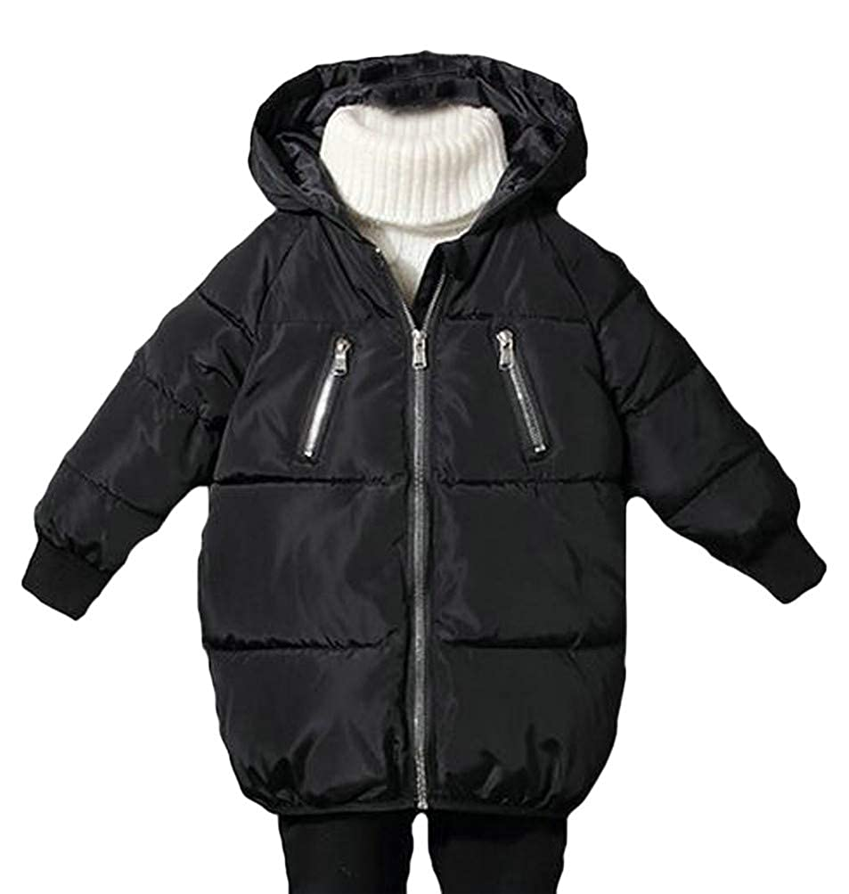 P/&E Girls Padded Hooded Quilted Winter Down Zip Jacket Parka Coat