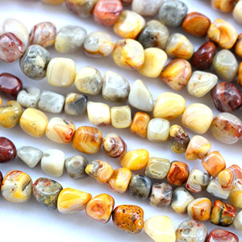 Natural Genuine Real Stone Free Size 6-7mm Nuggets Gemstone Loose Beads for Necklace Jewelry Making (Crazy lace agate) ()