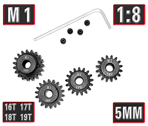 MakerDoIt Mod 1 16T 17T 18T 19T Pinion Gear Set with Screw Screwdriver for 5mm Shaft Traxxas Redcat Tamiya Losi 1/8 RC Car 17t Steel Pinion Gear