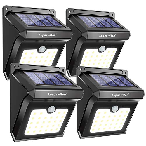 28 LEDs Solar Lights Outdoor, Luposwiten Solar Motion Sensor Lights Wireless Security Lights, 400 Lumen Waterproof Solar Powered Lights for Steps Yard Garage Porch Patio(4-Pack) (Solar Porch Lights Outdoor Lighting)