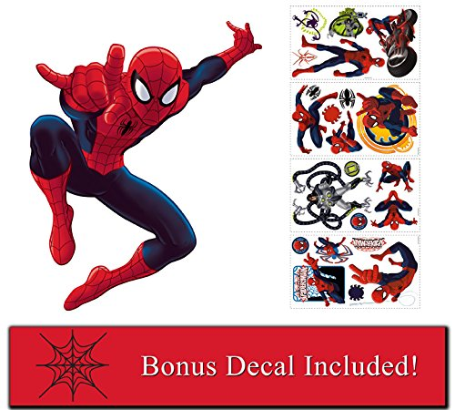 Marvel Comics Ultimate Spiderman Giant Wall Decal and Decals Plus Spider Web Accent Decal