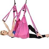 Yoga aéreo Swing Sling Ultra Fuerte Yoga antigravedad Trapecio Ejercicios Correas Hamaca para Uso Interior y Exterior Trapecio para Yoga Fitness Rosa