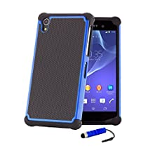 32nd® Shock proof defender heavy duty tough case cover for Sony Xperia Z1 (L39H) + screen protector, cleaning cloth and touch stylus - Deep Blue
