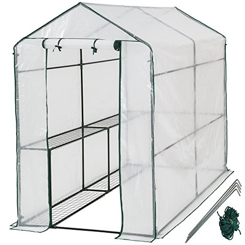 TecTake Greenhouse with shelf PVC cover metal frame 186x120x190cm