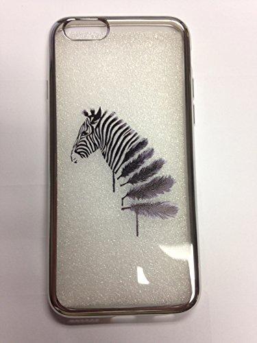 IPhone 6/6s Case, YogaCase MetalEdge Silicone Back Protective Cover (Zebra Feather Silver) (Case Cover Zebra Silicone)