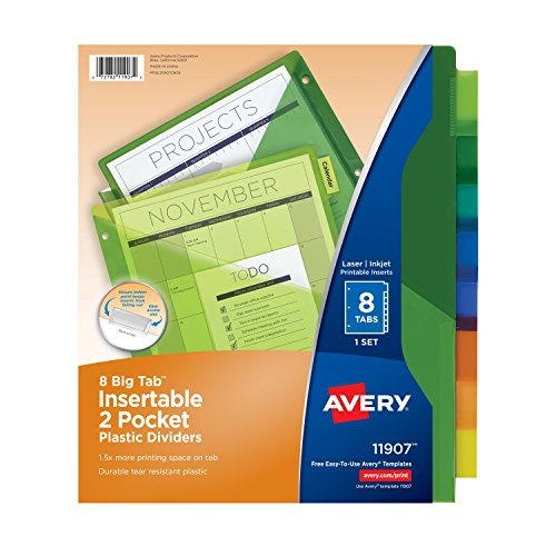 Avery Big Tab Two-Pocket Insertable Plastic Dividers, 8-Tabs, 3 pk (71907)